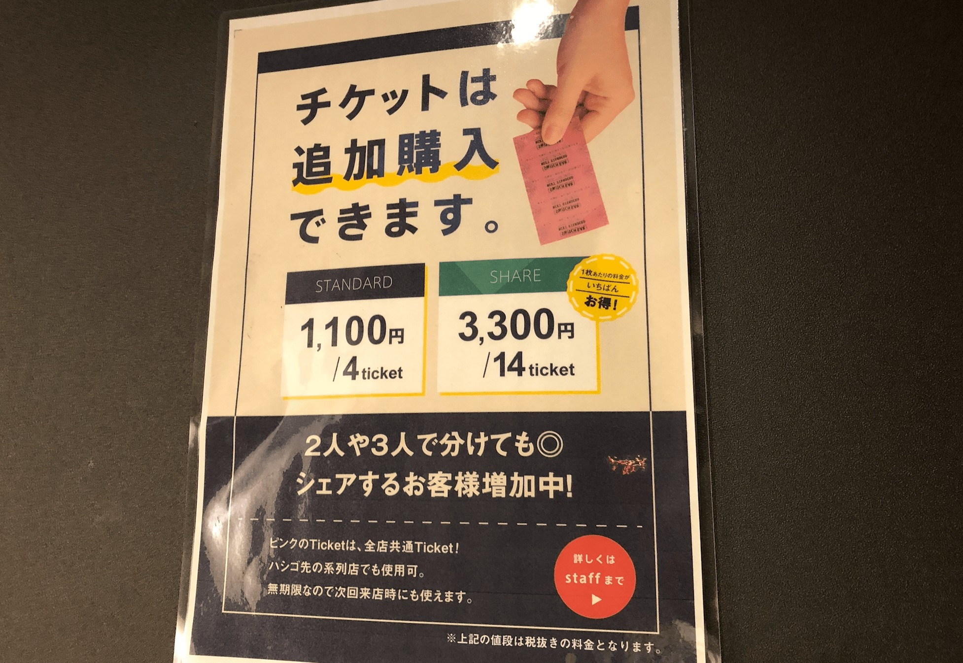 スイッチバー梅田のチケット